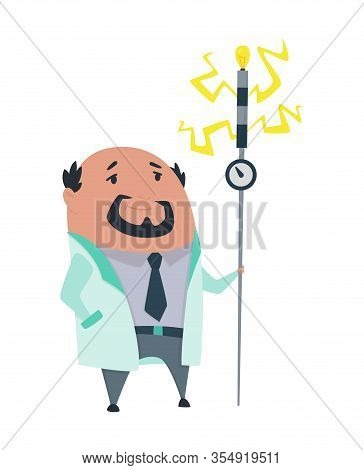 Mad Professor In Lab Coat. Crazy Scientist Stereotype. Doctor Research In A Laboratory Lab. Evil Sci