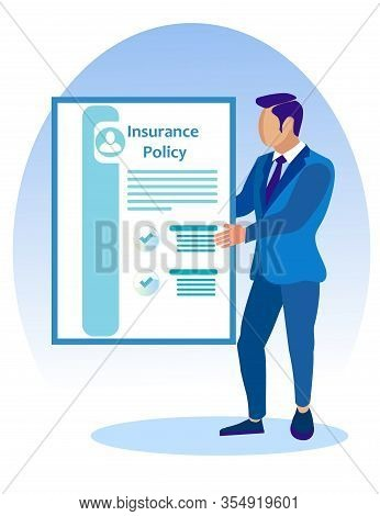Man In Blue Business Suit With Insurance Policy In Hands. Vector Illustration. Reliable Protection.