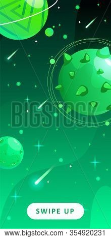 Stories Template. Space Background With Cartoon Fantasy Planets. Mobile Backdrop. Space Background.