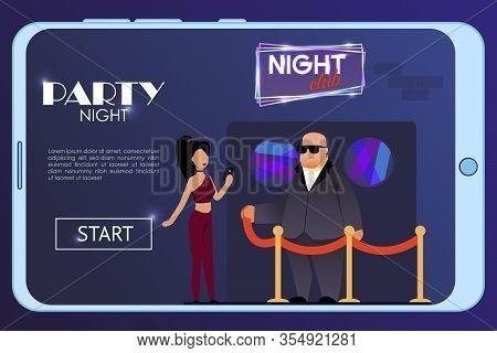 Mobile Landing Page Advertising Joyful Party Night At Nightclub On Weekends. Flat Vector Club Buildi