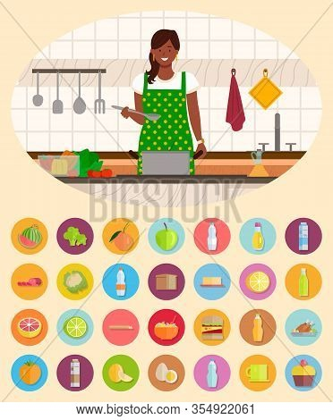 Woman Stand By Table And Boil Soup In Pan In Kitchen. Kitchenware And Ingredients For Meal On Desk.
