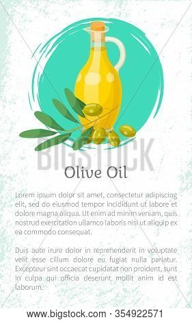 Olive Oil, Hair Natural Cosmetics, Bottle And Branch Plant Essence, Vector Banner. Organic Skincare
