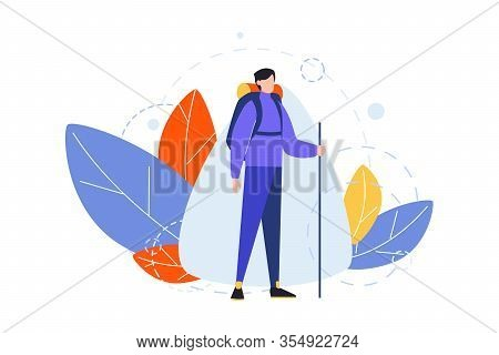 Hiking, Occupation, Hobby Concept. Illustration Of Man, Boy Hiker With Backpack And Stick. Travellin