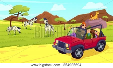 Happy Family Driving Jeep On Safari In Africa Or Open Air Zoo Park With Animals Walking Around, Pred