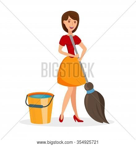 Wife With Cleaning Tools Flat Vector Illustration. Smiling Housewife Washing Floor. Bucket Of Water