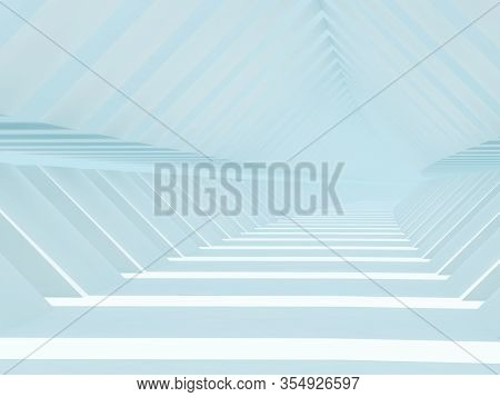 Abstract Blue Cg Background With Empty Light Blue Endless Tunnel Interior. 3d Rendering Illustration
