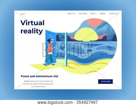 Woman In Virtual Reality Glasses In Exhibition Center. Vector Illustration. White Background. Walk T
