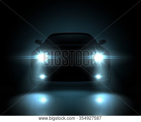 Dark Silhouette Of Car With Headlights Vector Illustration.