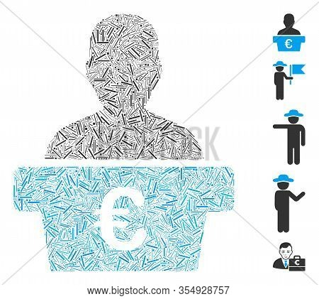 Dash Mosaic Based On Euro Politician Icon. Mosaic Vector Euro Politician Is Designed With Random Das