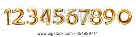Golden Number Balloons On A White Background. Vector Illustration