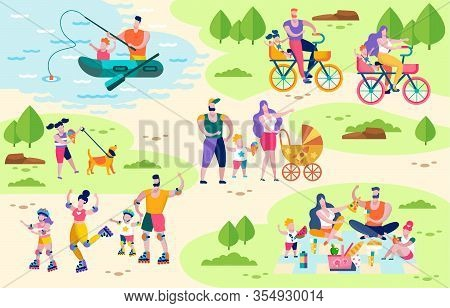 Family Active Outdoor Leisure Flat Vector Concept. Happy Parents Resting With Kids In Park, Riding B