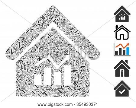 Dash Mosaic Based On Realty Charts Icon. Mosaic Vector Realty Charts Is Composed With Random Dash Do
