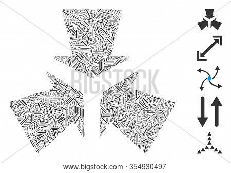Hatch Mosaic Based On Shrink Arrows Icon. Mosaic Vector Shrink Arrows Is Designed With Randomized Ha