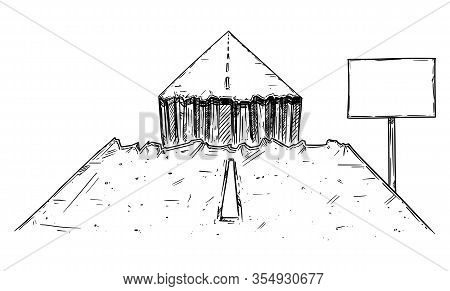 Vector Black And White Conceptual Drawing Or Illustration Of Road Interrupted By Chasm Or Break, Bus