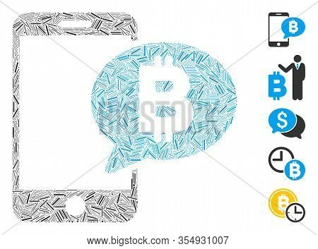 Line Mosaic Based On Phone Bitcoin Sms Icon. Mosaic Vector Phone Bitcoin Sms Is Created With Random