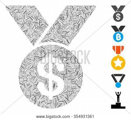 Hatch Mosaic Based On Bestseller Medal Icon. Mosaic Vector Bestseller Medal Is Formed With Scattered