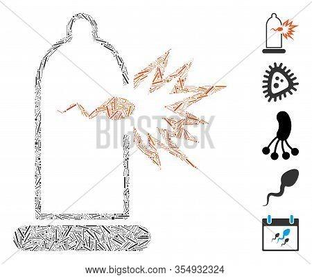 Hatch Mosaic Based On Condom Sperm Escape Icon. Mosaic Vector Condom Sperm Escape Is Designed With R