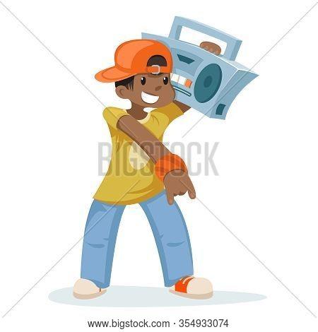 Modern Street Music Record Player Cartoon Character Design Vector Illustration
