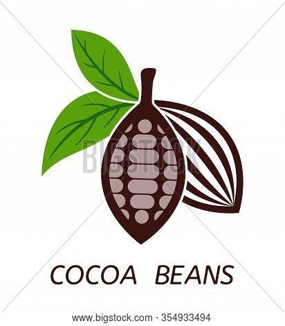 Vector Icon Of Cocoa Beans With Green Leaves And Cocoa Beans Text. Chocolate Organic Food Symbol. Fl