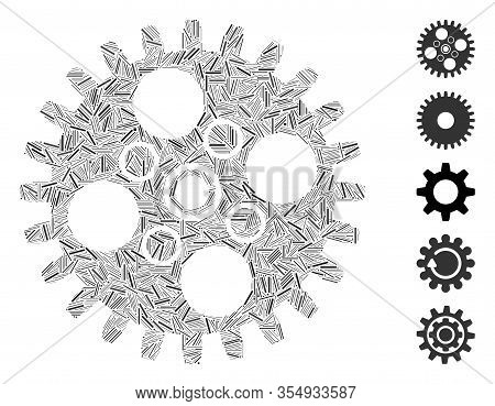 Hatch Mosaic Based On Cogwheel Icon. Mosaic Vector Cogwheel Is Created With Randomized Hatch Dots. B