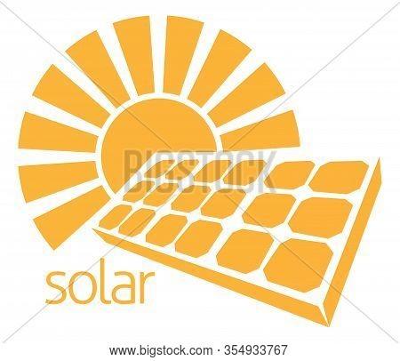 Conceptual Icon Of Sun And Solar Panel Photovoltaics Cell