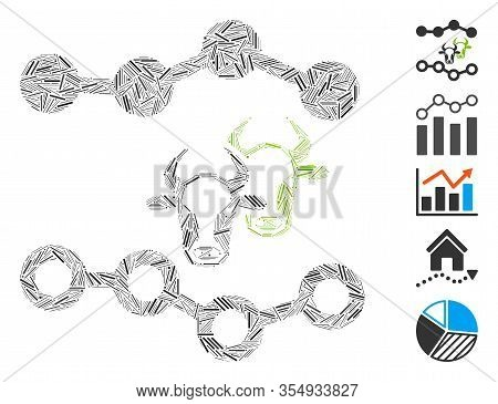 Dash Mosaic Based On Cattle Dotted Charts Icon. Mosaic Vector Cattle Dotted Charts Is Designed With