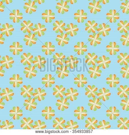 Four-leaf Shamrocks Seamless Pattern. Background For Saint Patricks Day And Irish Design. Shamrocks