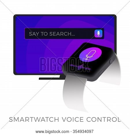 Smart Tv With Smartwatch Voice Remote Control, Flat Vector Icon. Smart Watch Voice Assistance System