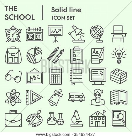 Education And School Line Icon Set, Study Symbols Set Collection Or Vector Sketches. Knowledge Signs