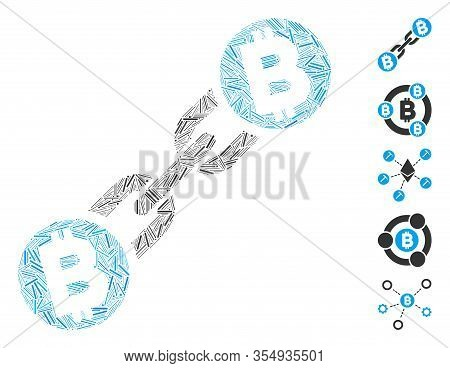 Dash Mosaic Based On Bitcoin Blockchain Icon. Mosaic Vector Bitcoin Blockchain Is Composed With Scat
