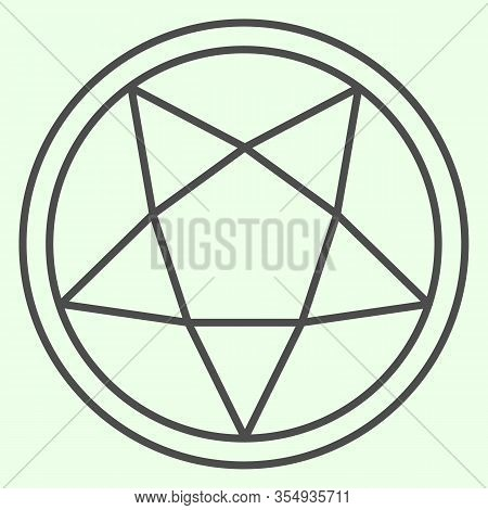 Pentagram Thin Line Icon. Mystical Gothic Five Pointed Star In Circle Outline Style Pictogram On Whi
