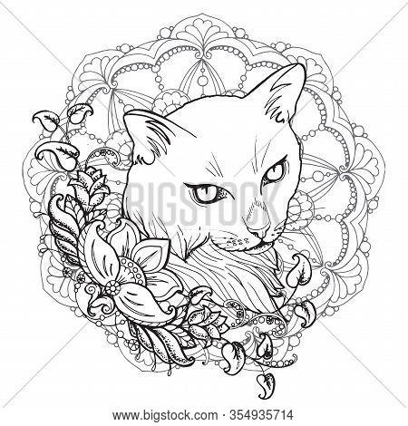 Decorative Floral Mandala. Tattoo In Mehendi Style