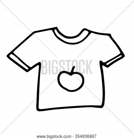 Baby Newborn Hand Drawn Doodle Set. Onesie, Pacifier, Rattle. Vector Illustration For Backgrounds, W