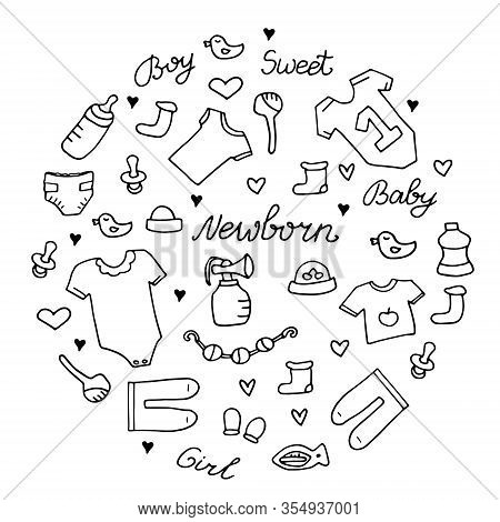 Baby Newborn Hand Drawn Doodle Set. Onesie, Pacifier, Rattle.