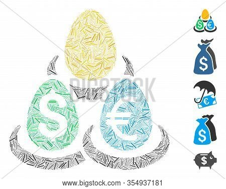 Hatch Mosaic Based On Currency Deposit Diversification Icon. Mosaic Vector Currency Deposit Diversif