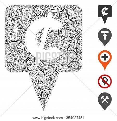 Hatch Mosaic Based On Cent Map Pointer Icon. Mosaic Vector Cent Map Pointer Is Designed With Random