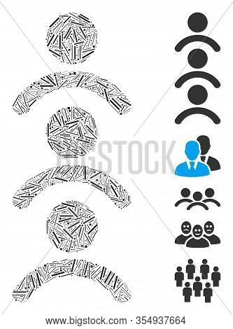 Line Mosaic Based On Man Queue Icon. Mosaic Vector Man Queue Is Composed With Random Line Spots. Bon