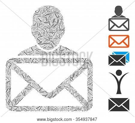 Dash Mosaic Based On Mail Recipient Icon. Mosaic Vector Mail Recipient Is Designed With Scattered Da