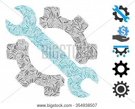 Dash Mosaic Based On Wrench And Gear Setup Tools Icon. Mosaic Vector Wrench And Gear Setup Tools Is