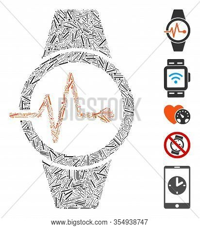 Hatch Collage Based On Pulse Watches Icon. Mosaic Vector Pulse Watches Is Formed With Randomized Hat