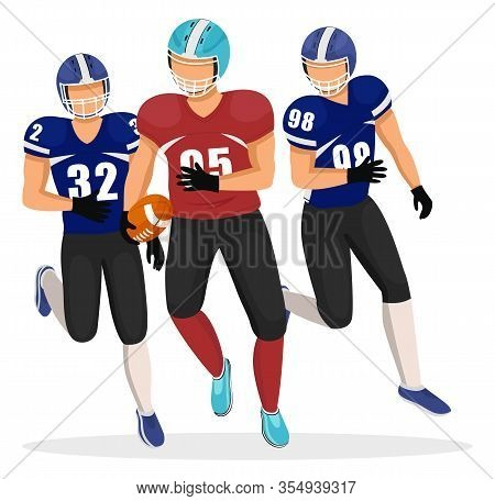 Male Character Running With Ball In Hands. American Football Players Isolated. Gridiron Game Competi
