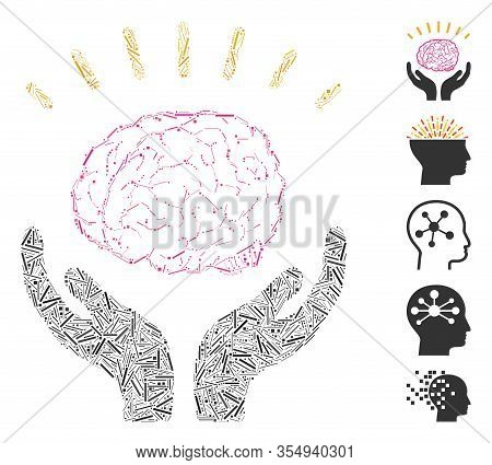 Dash Mosaic Based On Human Brain Knowledge Icon. Mosaic Vector Human Brain Knowledge Is Created With