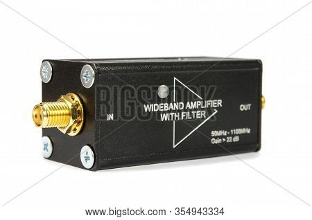 Rf Wideband Amplifier Isolated On The White Background