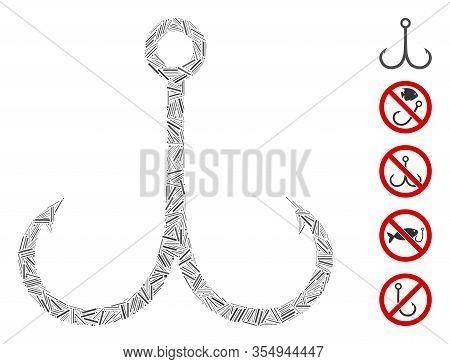 Line Mosaic Based On Double Fishing Hook Icon. Mosaic Vector Double Fishing Hook Is Formed With Scat