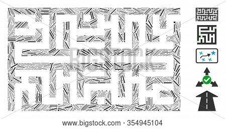 Line Mosaic Based On Labyrinth Icon. Mosaic Vector Labyrinth Is Formed With Random Line Dots. Bonus