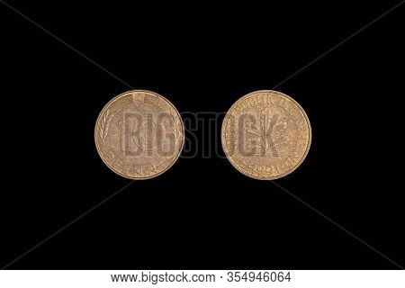 Old Bundesrepublik Deutschland Or Federal Republic Of Germany 10 Pfennig Coin From 1991.