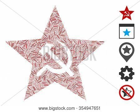 Dash Mosaic Based On Communism Star Icon. Mosaic Vector Communism Star Is Formed With Scattered Dash