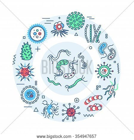 Viruses And Germs Web Banner. Microscopic Germ Cause Diseases. Infographics With Linear Icons On Blu