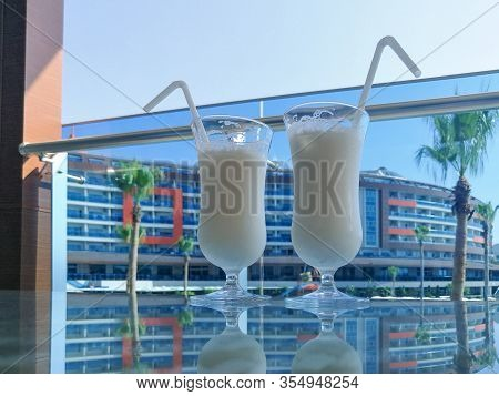 Pina Colada On A Luxury Hotel Bar Table