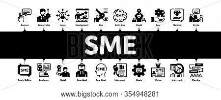 Sme Business Company Minimal Infographic Web Banner Vector. Sme Small And Medium Enterprise, Communi
